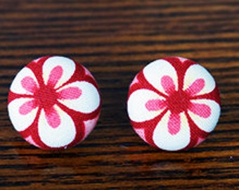 Floral Print Fabric Button Earrings