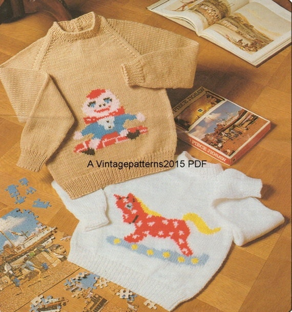 Knitting Pattern For Humpty Dumpty : Rocking Horse Humpty Dumpty Sweaters by VintagePatterns2015