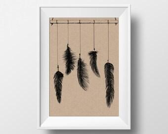 Hanging Feathers Illustration