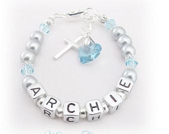 BOYS Personalized Name Bracelet Christening Baptism B'day GIFT ~ Aquamarine blue