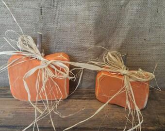 Wooden Pumpkins- Set of 2 Rustic/ Primitive/ Fall/ Thanksgiving Decor