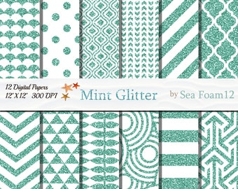Mint Glitter Digital Paper Pack, 12x12 Instant Download for Cards, Invitations, Scrapbooking, Mint Background , Sparkles