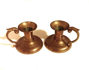 Two Solid Brass Vintage Candlesticks