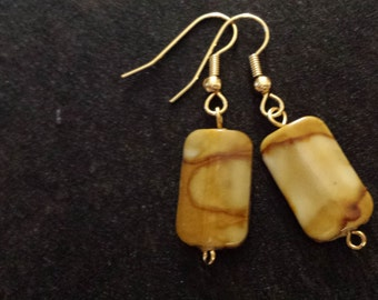 Brown and Gold Rectangle Earrings