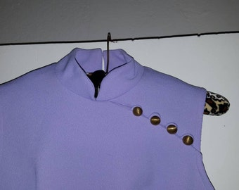Lavender/Purple 1960s Polyester A-Line Dress Mod Skinhead Northern Soul