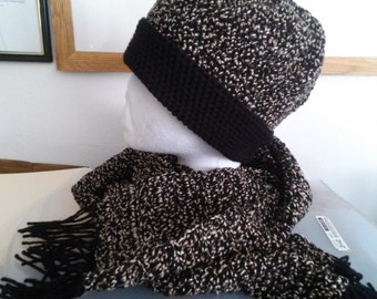 Pearls in Black - Handcrafted Crocheted Hat and Scarf