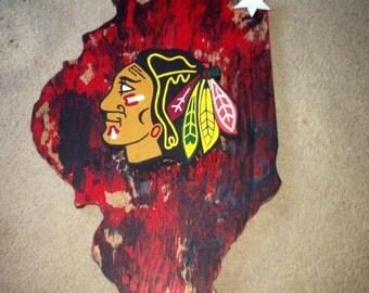 Blackhawks Wood Art// Chicago Custom Sports Art