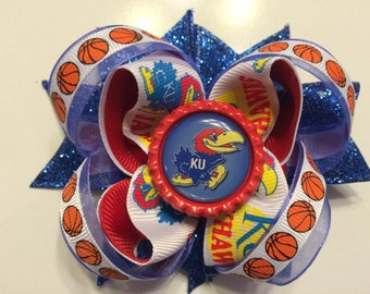 KU Jayhawks Basketball Hair Bow