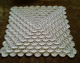 Beautiful soft heirloom crochet ruffles baby blanket