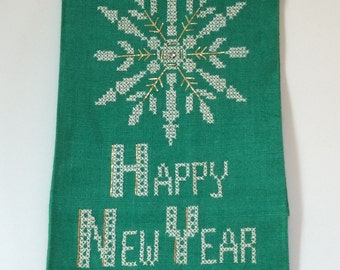 Vintage Embroidered Christmas/New Year Hand Towel
