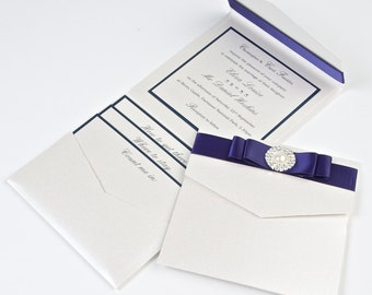Beautifully handcrafted Pocketfold wedding invitation finished with luxurious satin ribbon