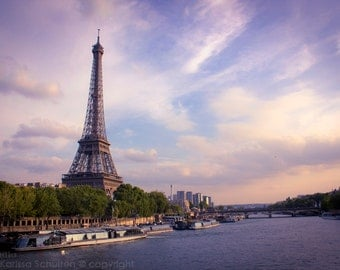 Paris Fine Art Print, Eiffel Tower and Seine River, Sunset Eiffel Tower, Sunset Paris, Eiffel Tower, Paris Photography, Seine River Paris