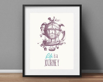Life is a Journey Inspirational Typographic Print Printable Wall Art Motivational Quotes Purple Teal Home Decor Instant Digital Download