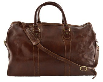 Leather Travel Bag - Sheila - Tuscan Leather, Genuine Leather Travel Bag 100% Made in Italy