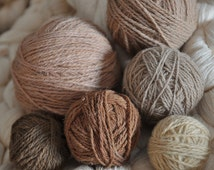Set of naturally dyed wool yarns. Soft pink, grey, yellow, dark and light brown 275grams. Suitable for reenactment, nalbinding, weaving