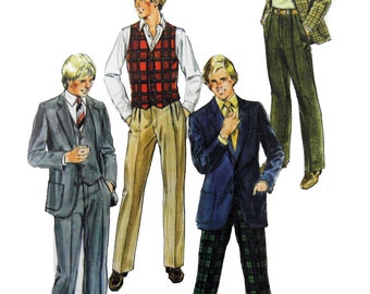 1982 Simplicity 5677 Teen Boys' Pants, Lined Jacket and Lined Vest Uncut Factory Folded Sewing Pattern Size 16
