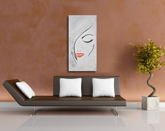 Abstract Art,Abstract woman painting,large Modern Art ,black white - Modiz art