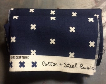 Navy Cotton Fabric with White Xs