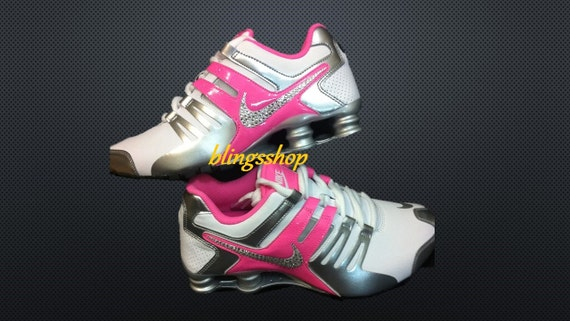 All White Nike Shox With Rhinestones  7283cd3d69