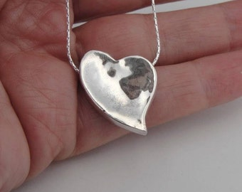 DUERRY's Pure unequal heart, silver heart pendant