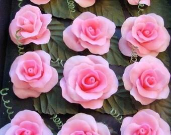 Cold Porcelain Roses ( Dark pink / flatback)