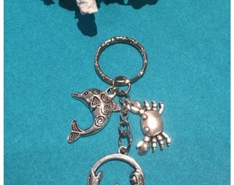 Mermaid Dolphin and Crab Keychain