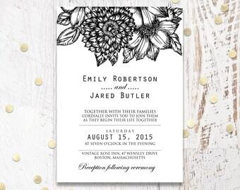 Modern Wedding Invitations, Printable Wedding Invitations, Wedding invitation template, Wedding Invitation Download, DIY Wedding Template