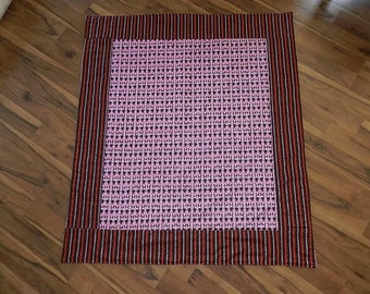 Ric Rac Rabbits on Pink and Brown Quilt 42 inches x 48 inches  Crib Planket, Plymat, Tummy Time Mat