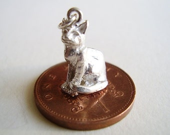 Sterling Silver  3D Sitting Cat Charm Charms