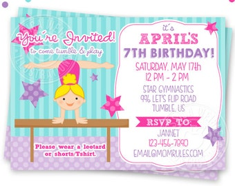 Blonde Girls Gymnastics Printable Invitation, Custom Gymnast Party Invitation, Printable Gymnastics Birthday Party Invitation, girls