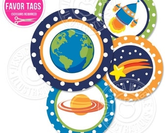 Space Kids Printable Party Favor Tags, 2 IN Cupake Toppers, Space Party Square Tags, Astronaut Birthday Party Tags, Rocket Planets Favor Tag