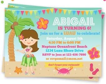 Hula Girl Party Printable Invitation, DIY or Printed Custom Hula Party Invitation, Luau Birthday Party Invitation, Tropical Beach Party