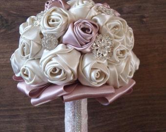 Brooch Bouquet in Dusty Pink & Ivory,Ribbon flower bouquet