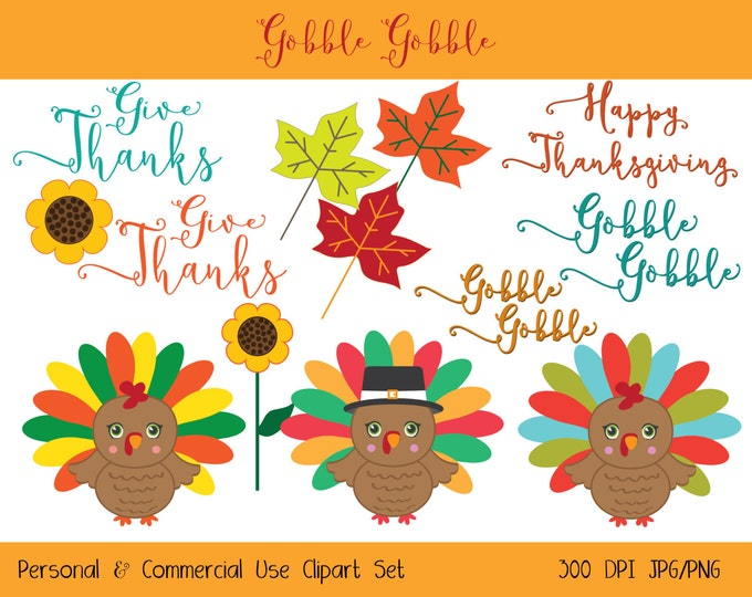 TURKEY CLIP ART Commercial Use Clipart Cute Thanksgiving ClipArt Word Art Turkey Leaves Sunflowers Digital clip art Instant Download Jpg/Png
