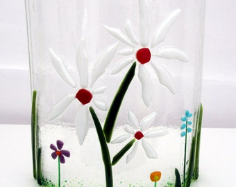 Decorative Fused Glass Floral Arrangement - Three Flowers