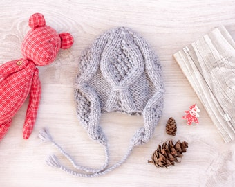 Knit Baby Hat, Baby Earflap, Cable Baby Hat, Knit Earflat Hat, Childrens Hat, Toddler Knit Hat, Hand Knit Baby Clothes