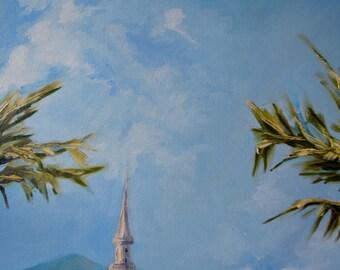 Minaret. Oil painting