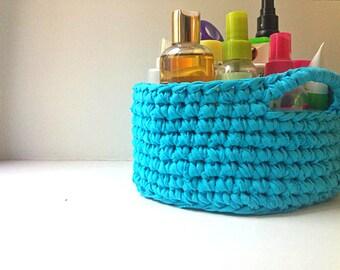 Handmade Crochet Storage Basket Home/Decor/Storage/Knit/Yarn/ight blue/cosmetic organizer/ribbon yarn