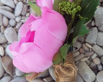 Groom's Boutonniere - Pink Ranunculus