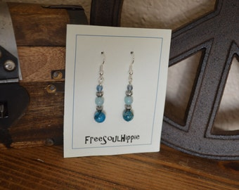 Dangle Earrings made with Blue Crazy Lace Agate/Amazonite/Fluorite Beads
