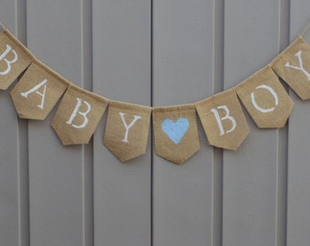 Baby Boy Burlap Banner, Gender Reveal, Its a Boy, Rustic Baby Shower, Baby Bunting Garland, Baby Shower Decor, Its a Boy Sign, Photo Prop