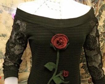 black elegant shoulder out long dress down to knee