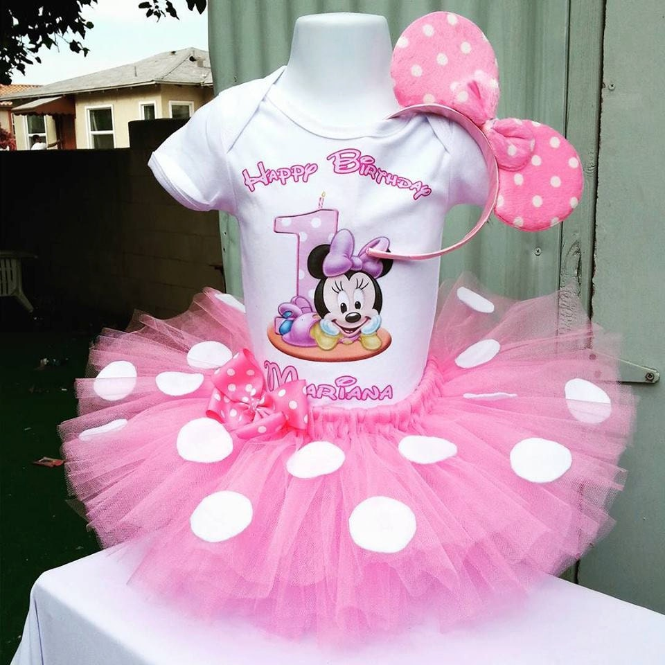 Minnie Mouse 1st Birthday: Handmade Light Pink Minnie Mouse 1st Birthday Tutu Set
