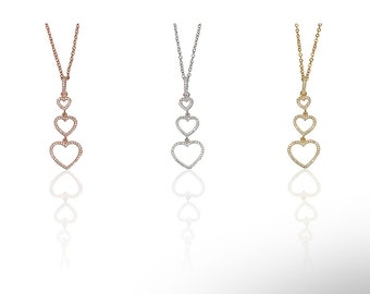 Triple Heart Necklace Cz 925 Silver Yellow Rose Gold