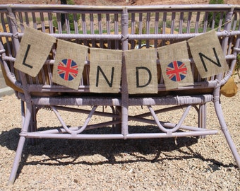 London Burlap Banner London Burlap Garland British Flag Garland British Flag Banner Union Jack Banner Union Jack Garland British Home Decor
