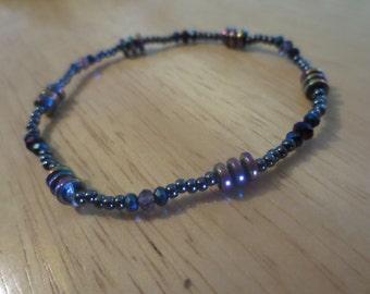 Black and Purple Seed Bead Bracelet