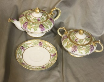 Nippon Tea Set ~ Teapot, Sugar bowl, & Saucer