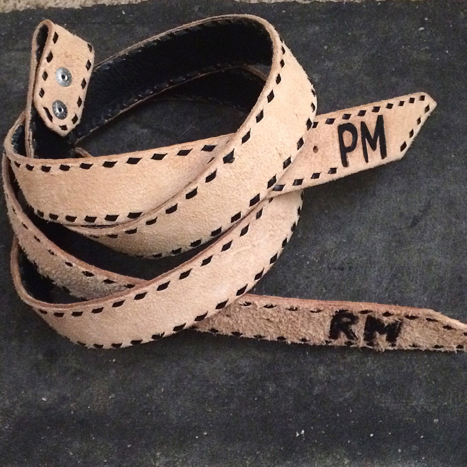 custom roughout leather belt with buckstitching and 2