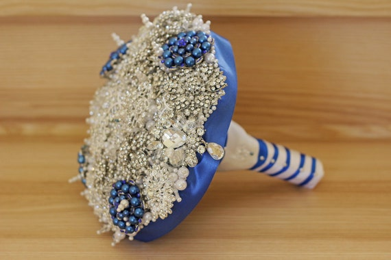 Weddings,  Decorations,  Bouquets,  brooch bouquet,  wedding bouquet,  crystal bouquet,  jewellery bouquet,  vintage wedding, white bouquet,  wedding Dress,  white weddings,  vintage bouquet,  white silver,  best bouquet ever,  royal blue brooch