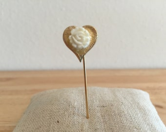 Gold-Toned Heart Hat Stick Pin with Hand Carved Faux Ivory Rose Center